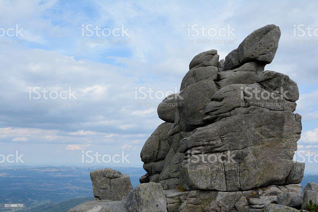 Sloneczniki rocks in Karkonosze mountains stock photo