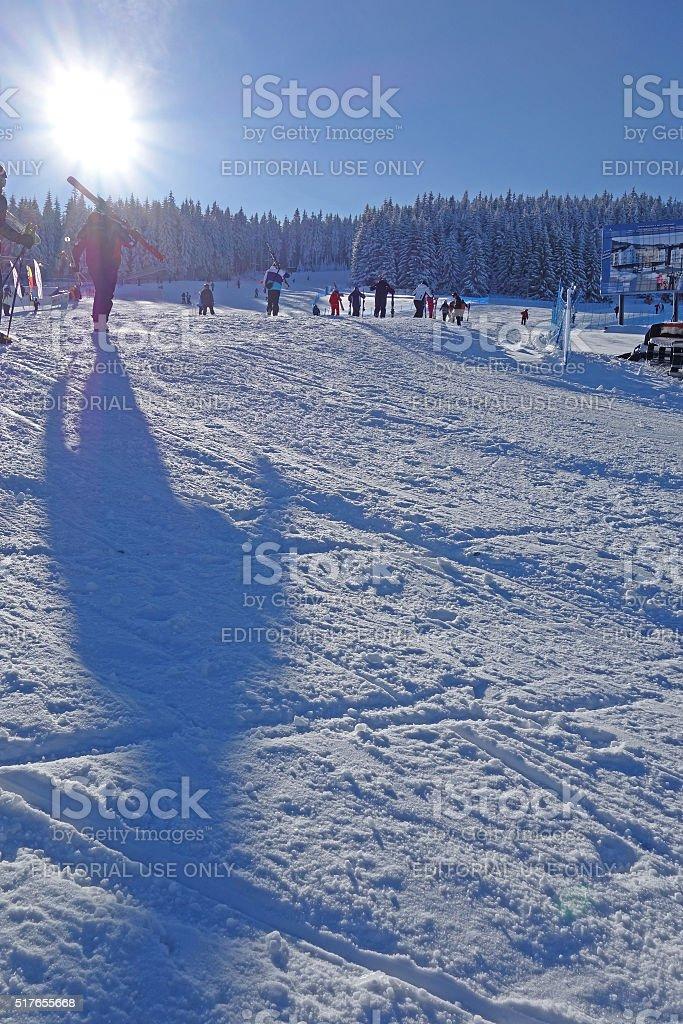 Slope at Black Mountain ski resort in Poland stock photo