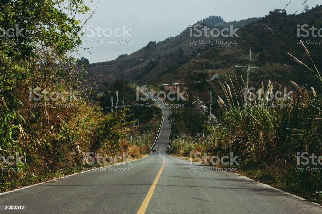 Slope mountain road stock photo