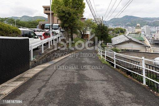 Nagasaki, Japan - April 30, 2019 : slope street or road of city.