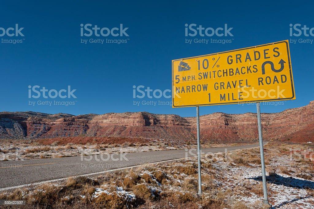Slope warning sign stock photo