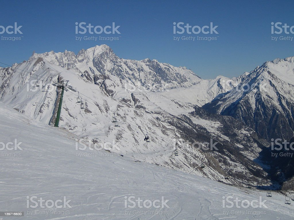 Slopes in the Alps stock photo