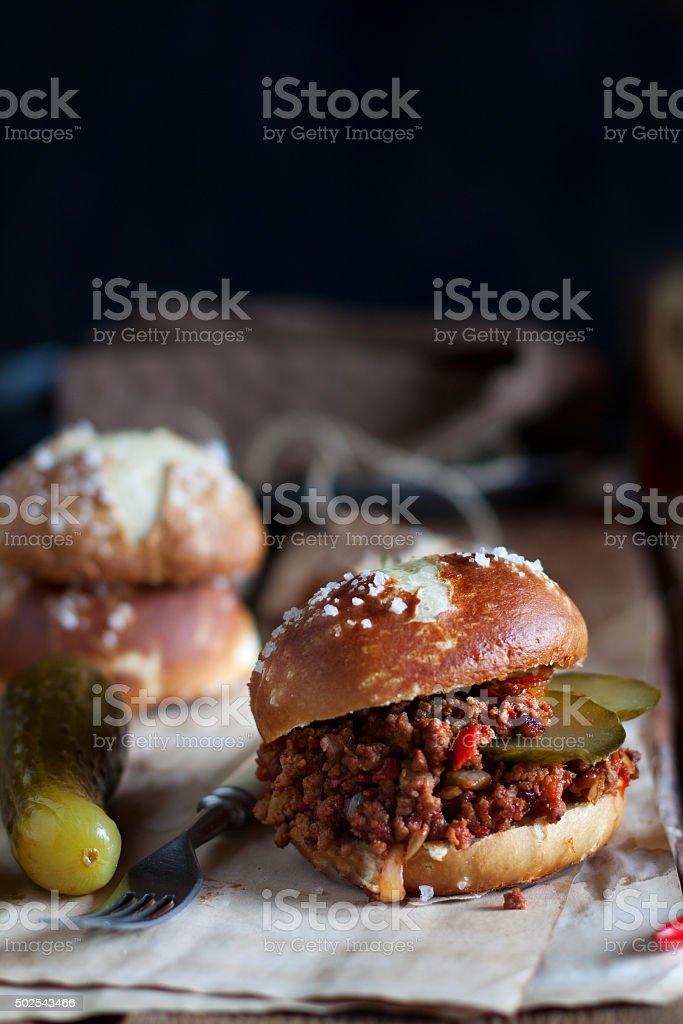 Sloppy joe burger stock photo