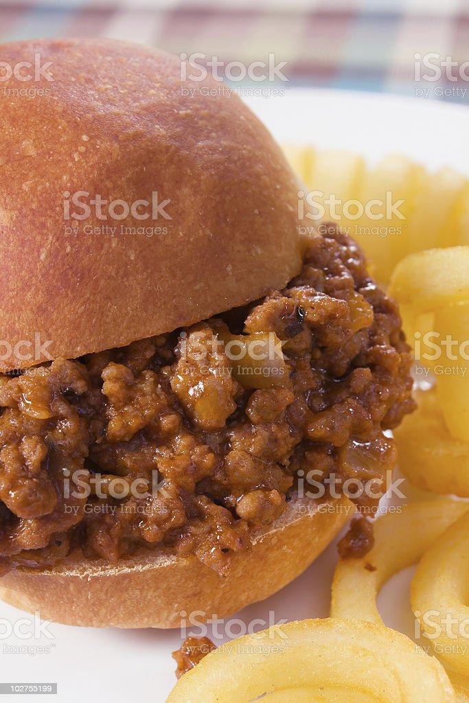 Sloppy Joe & Curly Fries stock photo
