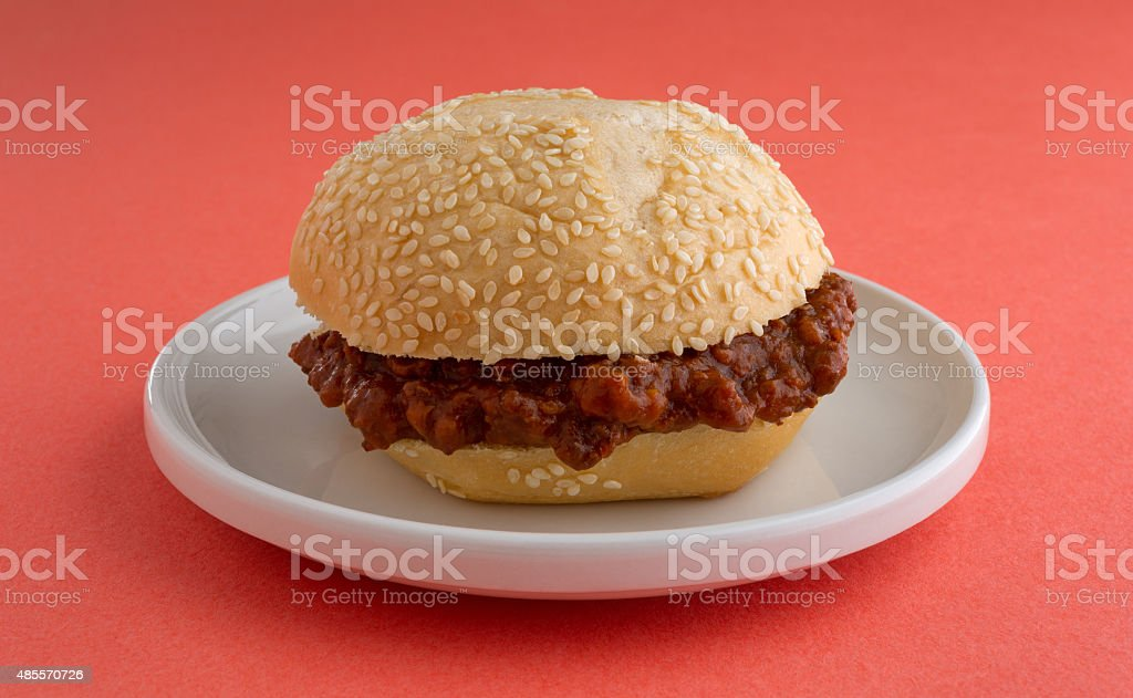 Sloppy joe sandwich on a small plate stock photo