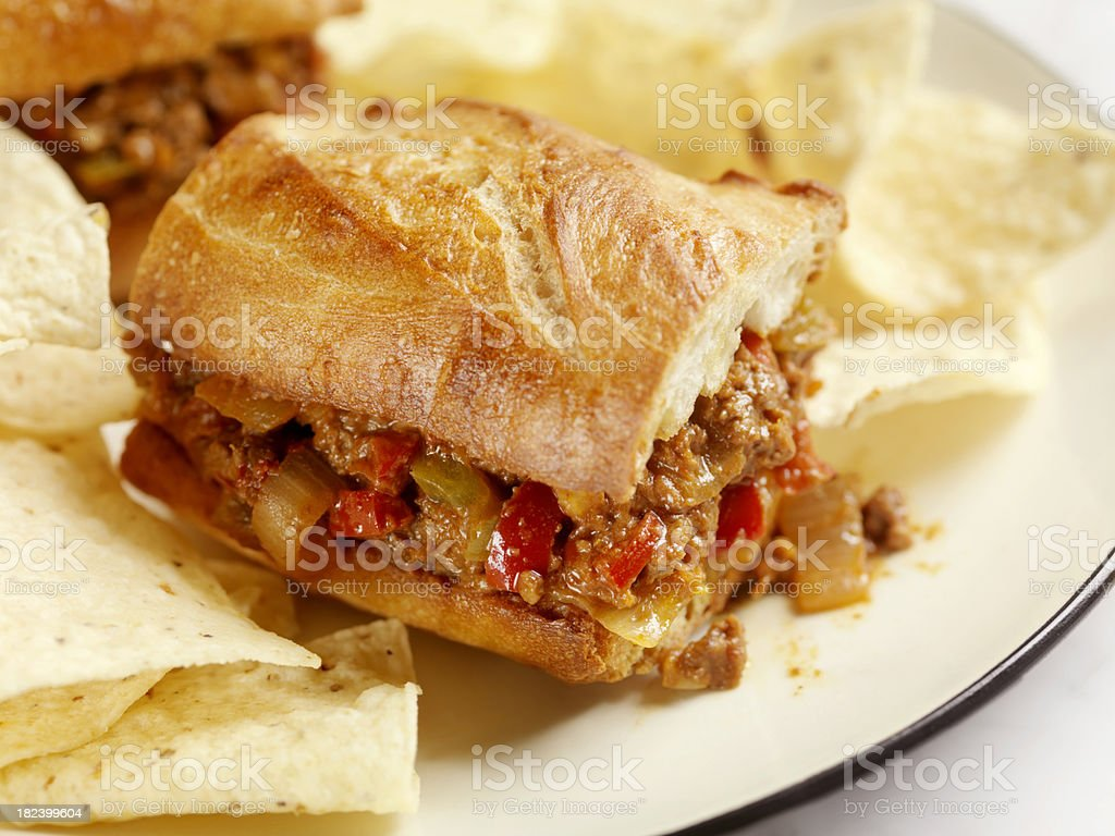 Sloppy Joe Sandwich with Tortilla Chips royalty-free stock photo