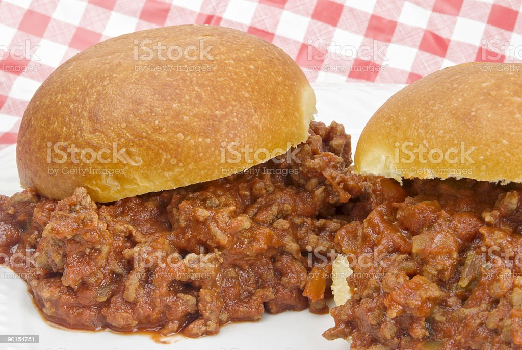Sloppy Joe Sandwiches on a White Plate with Checked Background stock photo