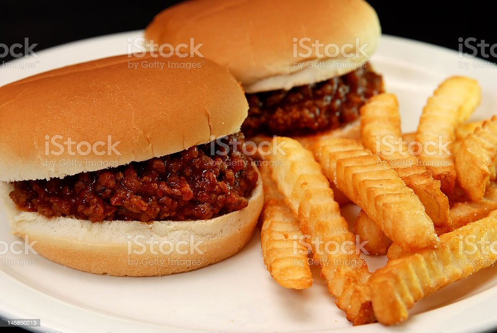 Sloppy Joes and Fries stock photo