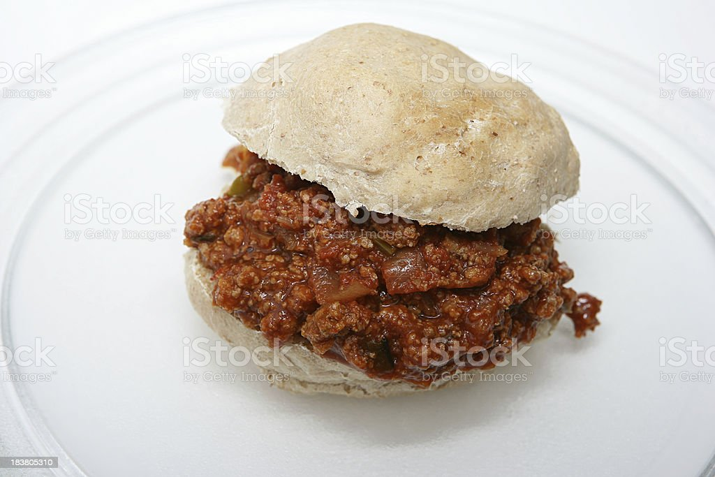 Sloppy Joes Sandwich on a Clear Plate stock photo