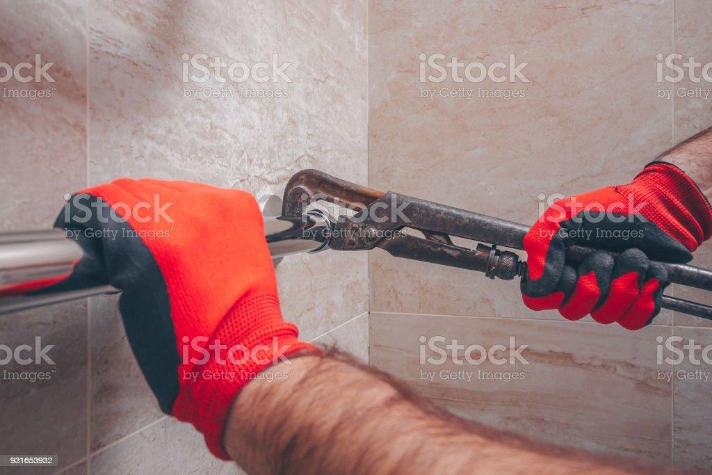 sloppy work of plumber stock photo