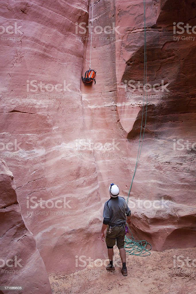 slot canyon adventure exploration royalty-free stock photo