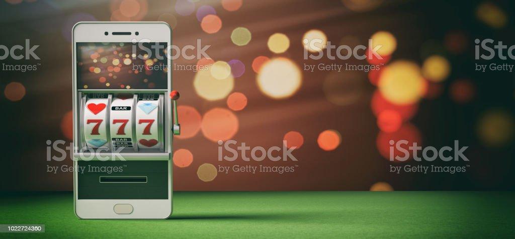 Slot-Maschine auf einem smartphonebildschirm, grünem Filz und abstrakten Hintergrund. 3D illustration – Foto