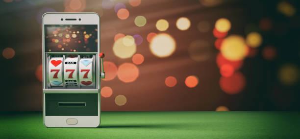 Machine à sous sur un écran de smartphone, feutre vert et abstrait. illustration 3D - Photo