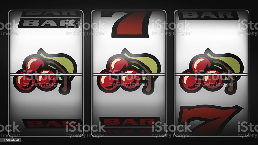 Slot Machine Winner Cherry stock photo