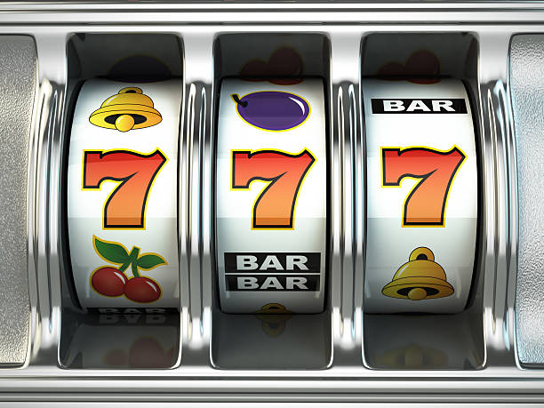 Slot machine with jackpot. Casino concept. Slot machine with jackpot. Casino concept. 3d game of chance stock pictures, royalty-free photos & images
