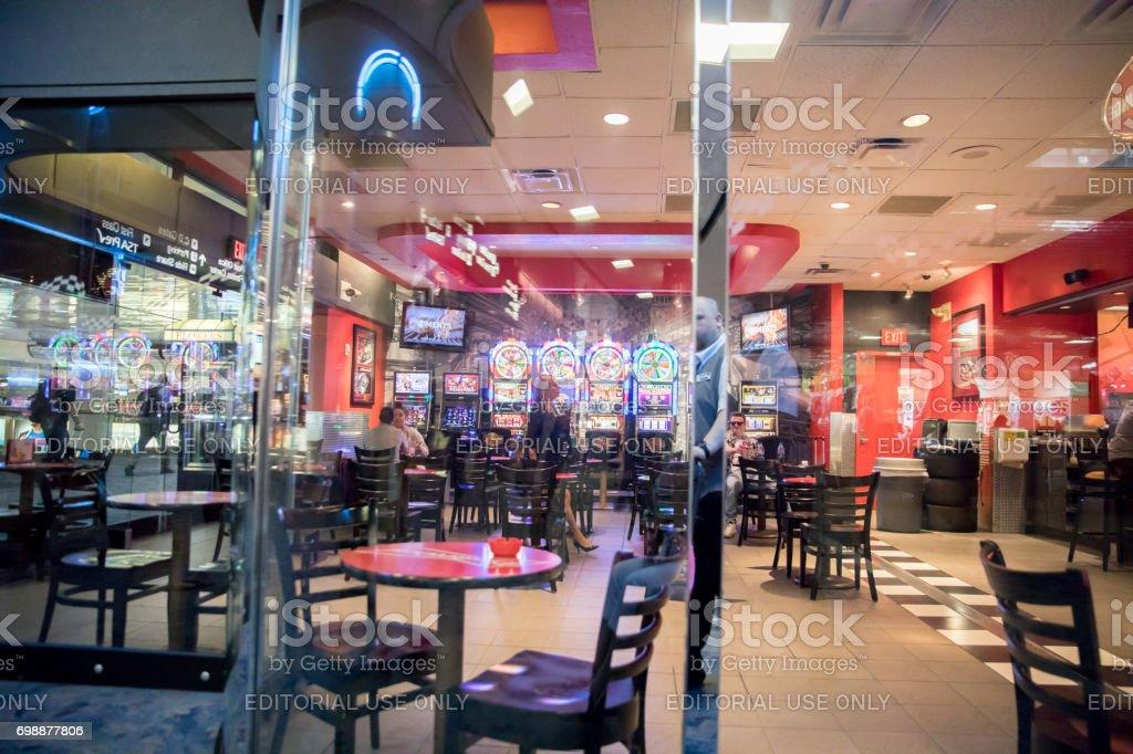 Slot Machines an fast food at McCarran International Airport, Las Vegas stock photo