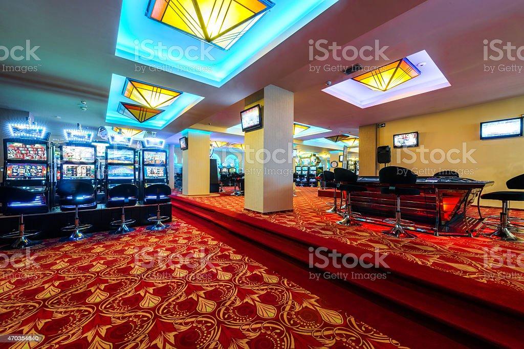 Slot machines at casino stock photo