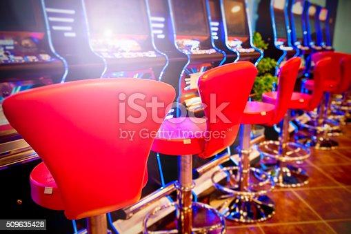 istock Slot machines in gambling hall 509635428