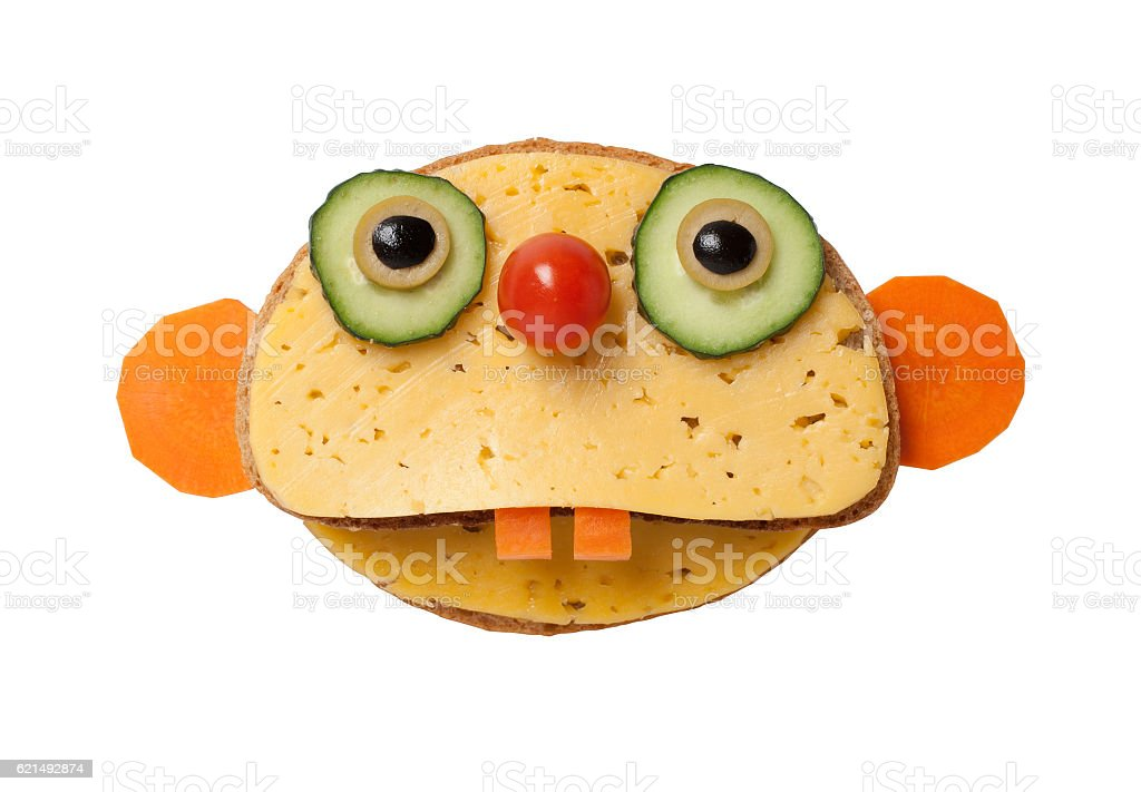 Sloth made of bread and cheese on white background photo libre de droits