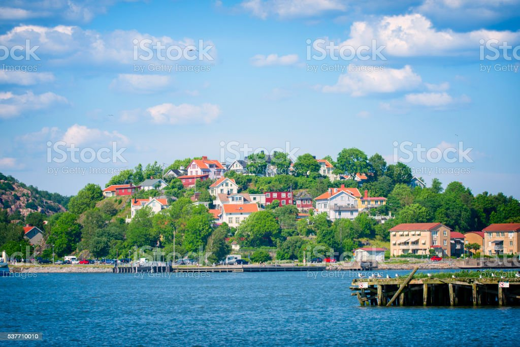 Slottsberget in Gothenburg harbor stock photo