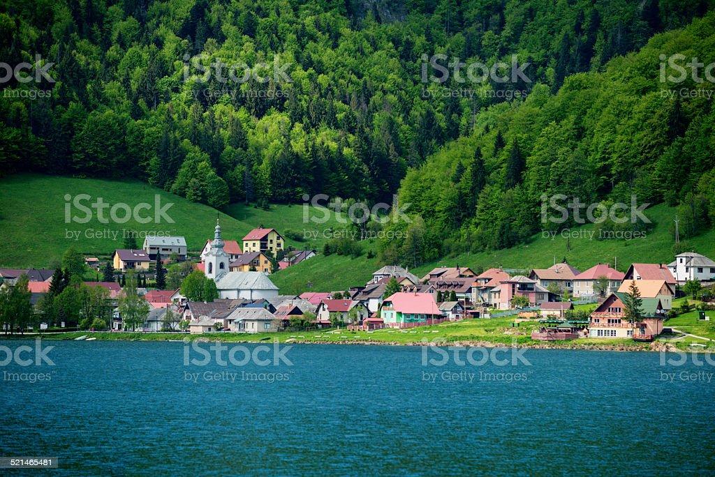 Slovak village at the lake stock photo