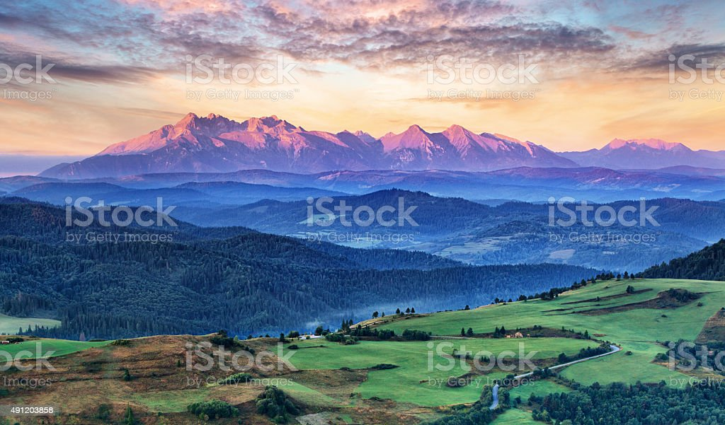 Slovakia and Poland countryside, Tatras stock photo