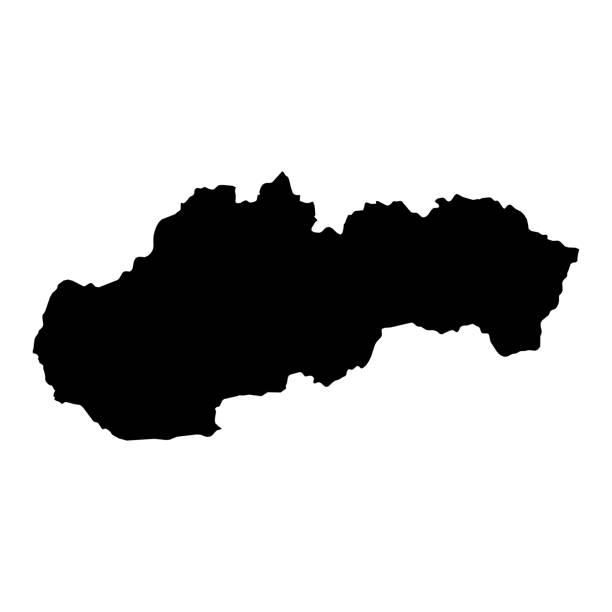 Slovaquie Silhouette noire carte contour Isolated on White Illustration 3D - Photo
