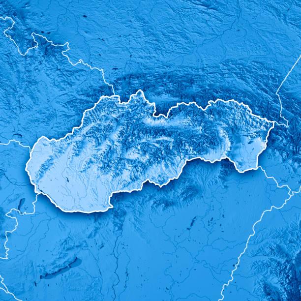 Carte topographique de Slovaquie pays rendu 3D bleu frontière - Photo