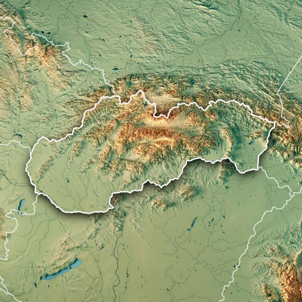 slovakia country 3d render topographic map border - slovacchia foto e immagini stock