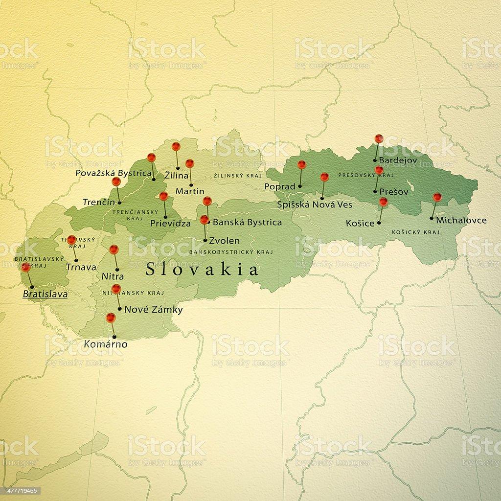 Slovakia Map Square Cities Straight Pin Vintage stock photo