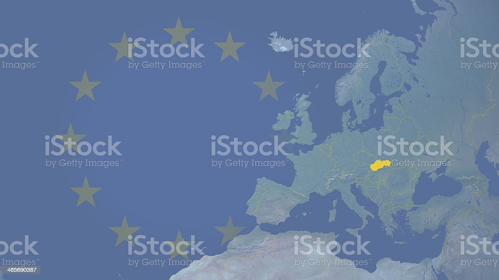 Slovakia part of  European union since 2004 16:9 with borders royalty-free stock photo