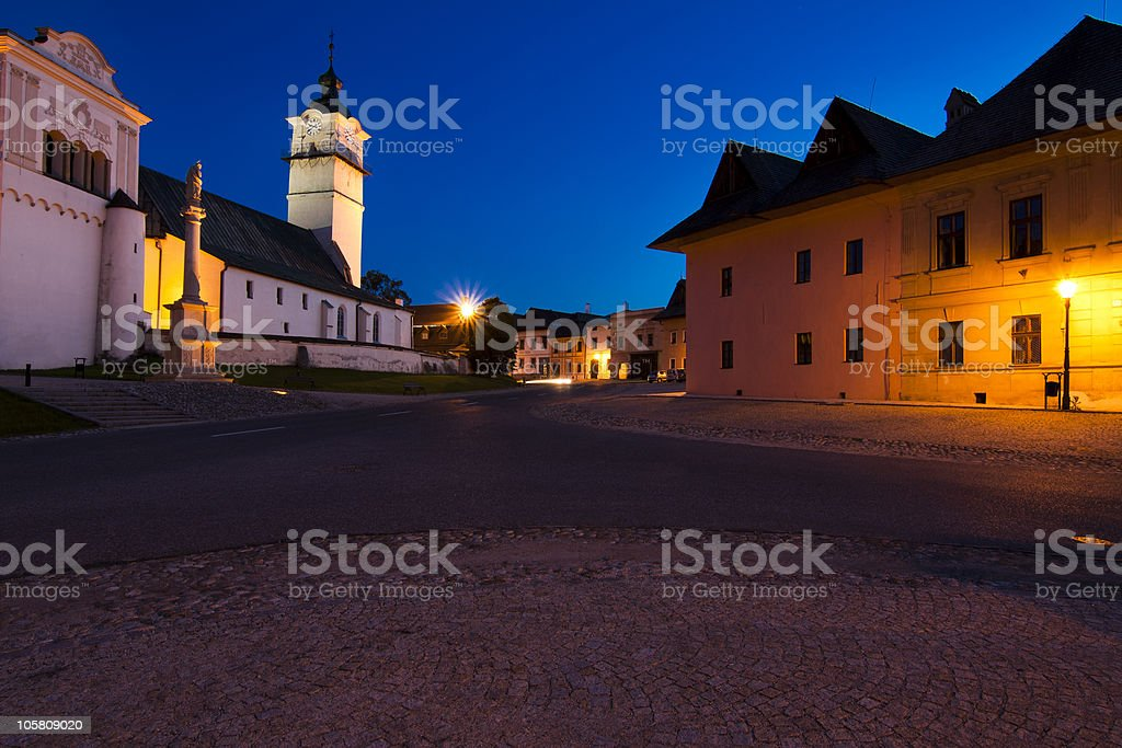 Slovakia small town in the evening royalty-free stock photo