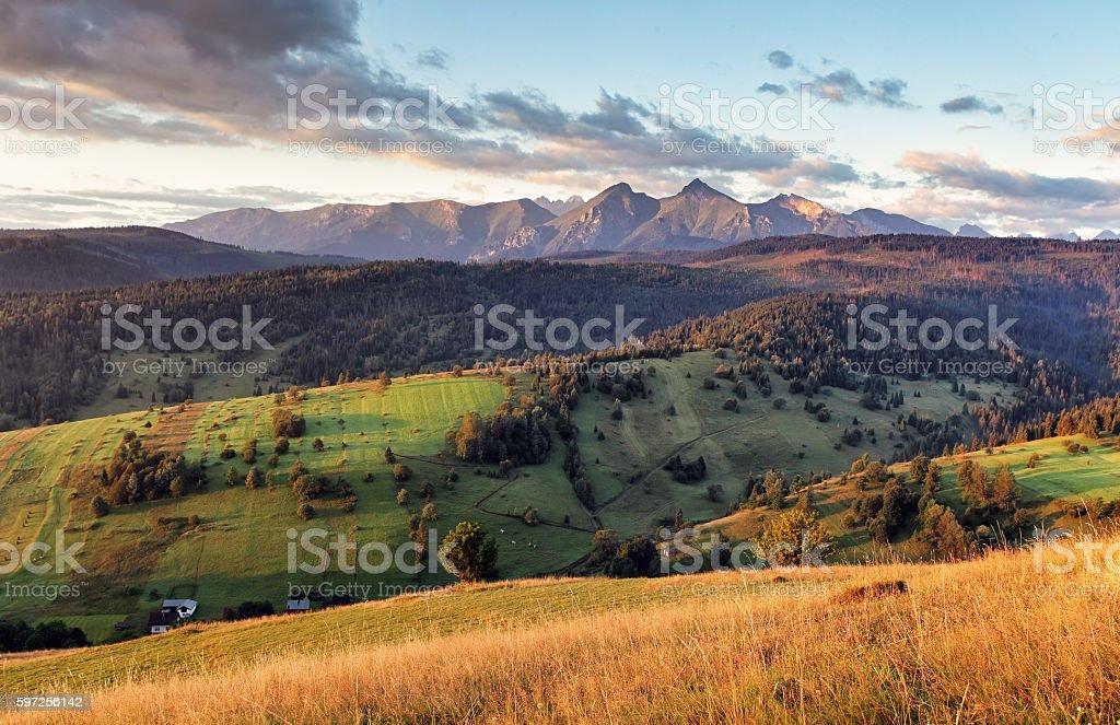 Slovakia Tatras with meadow, Beilanske Tatry stock photo