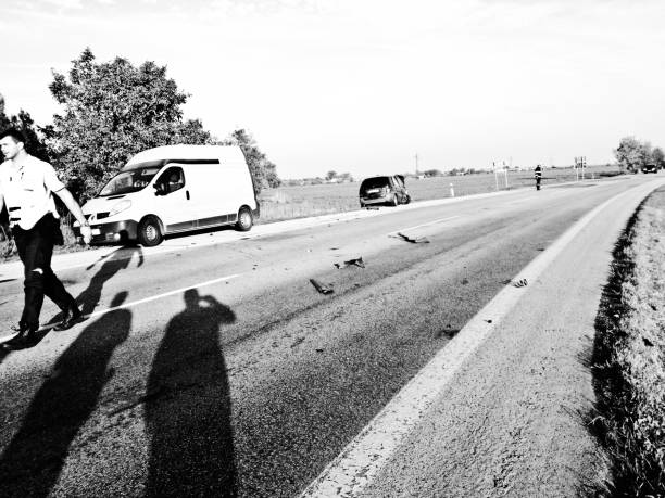 Slovakian first responders including the police and the fire service attend to a road accident on a motorway near Bratislava, Slovakia stock photo