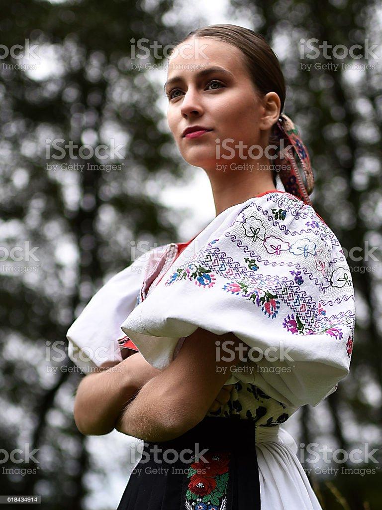 slovakian folklore dancer woman in slovakian folklore dancer dress Slovakia Stock Photo