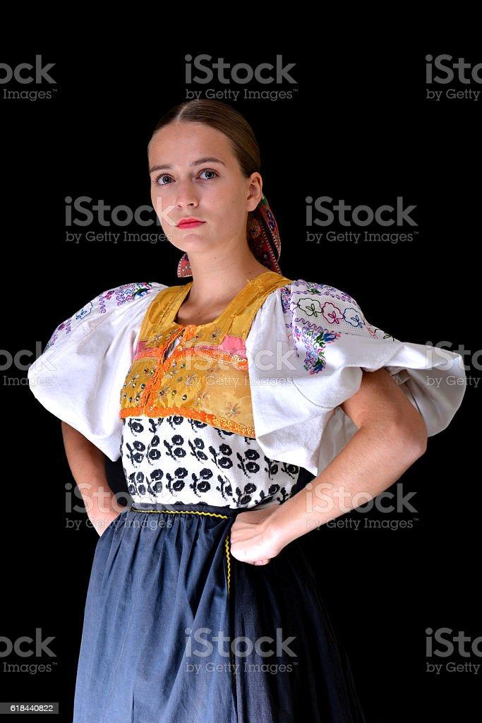 slovakian folklore dancer stock photo