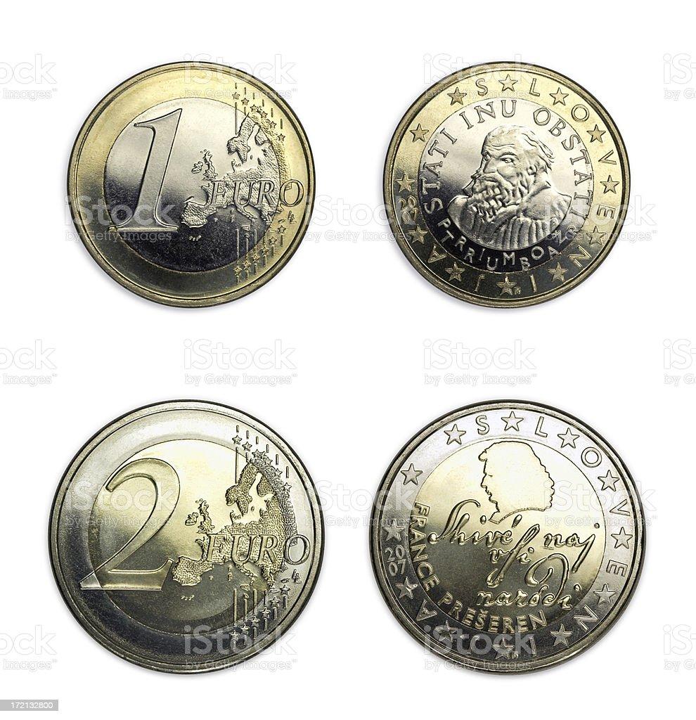 Slowenische Münzen Im Wert Von 1 Und 2 Eurobeiden Seiten Stock