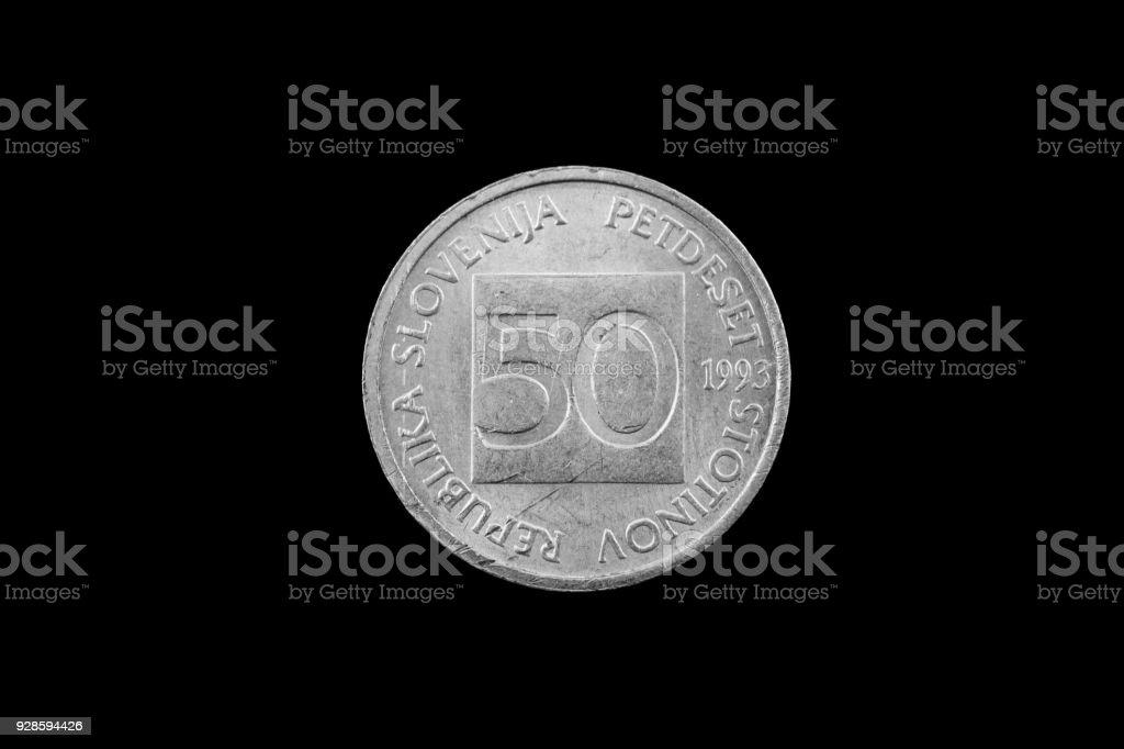Slowenische 50 Stotin Münze Auf Schwarzem Hintergrund Isoliert Stock