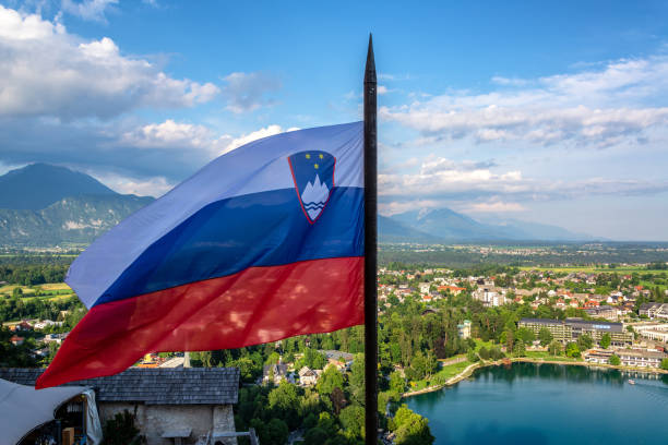 Slovenian Flag in Bled stock photo