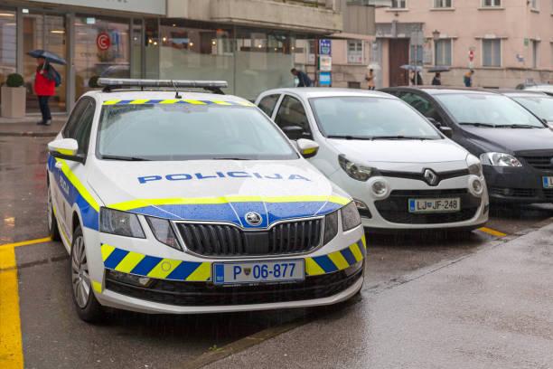 Slovenian police car stock photo