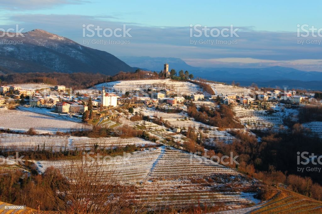 Slovenian village in snow, Kojsko, Slovenia stock photo