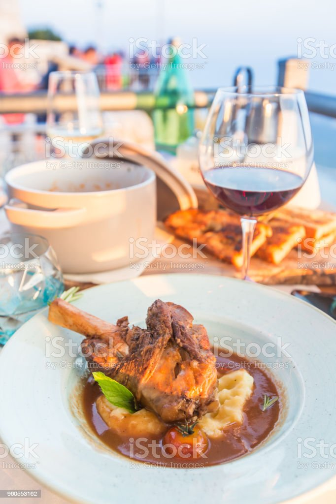 Slow cooked lamb stock photo