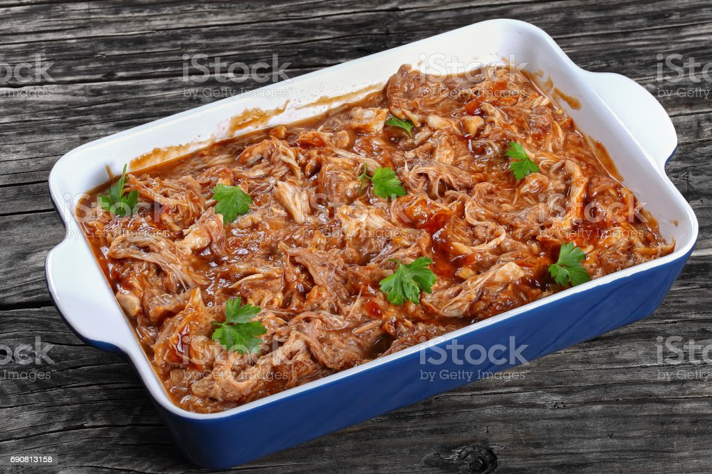 slow cooked pulled meat, top view stock photo
