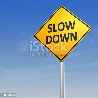 Road Warning Sign - Slow Down.Digitally generated 3d image.