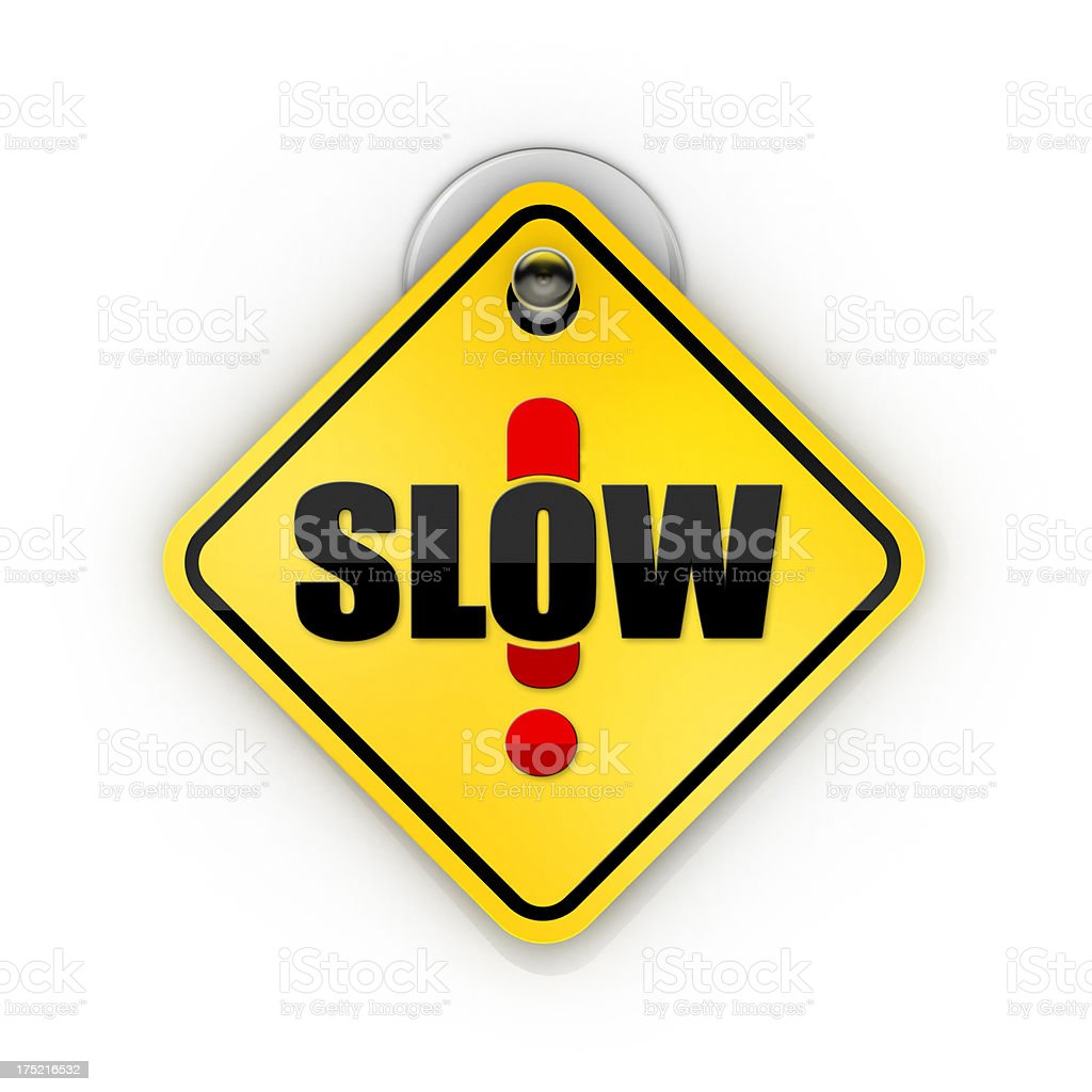 Slow Down warning Sticky sign royalty-free stock photo