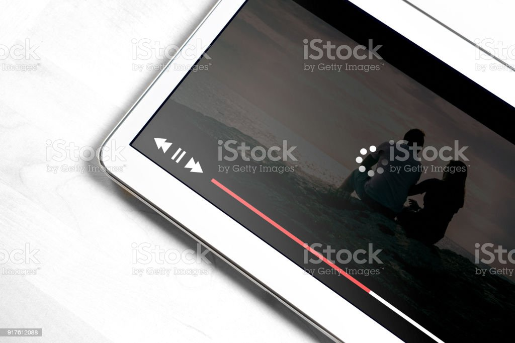 Slow internet connection. Bad online movie streaming service. Loading icon rolling on video. stock photo