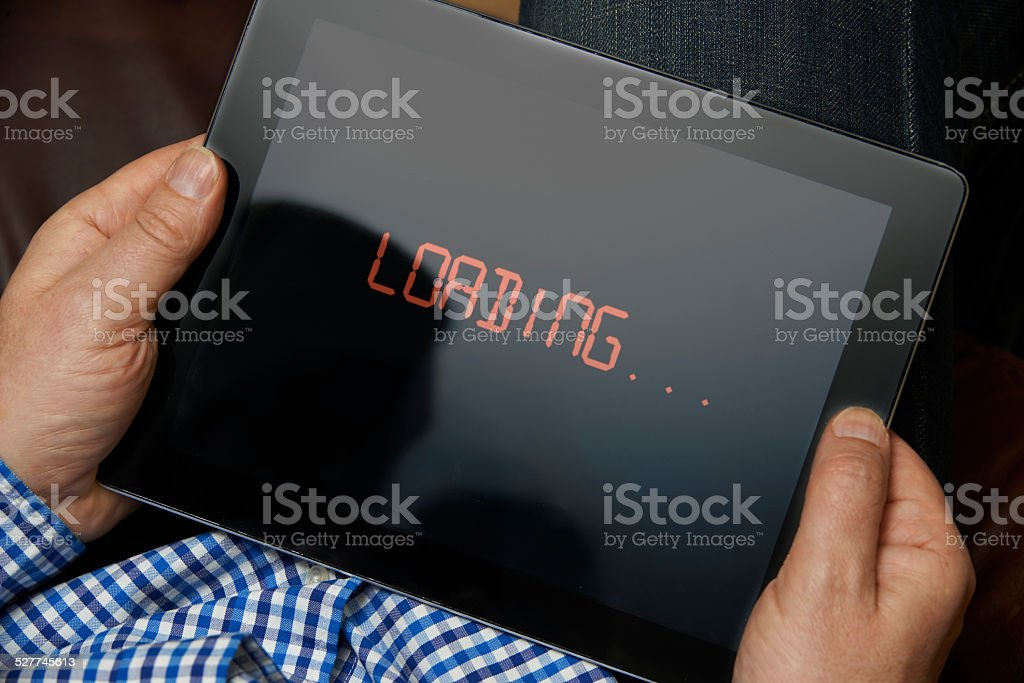 Slow Internet Connection On Digital Tablet stock photo