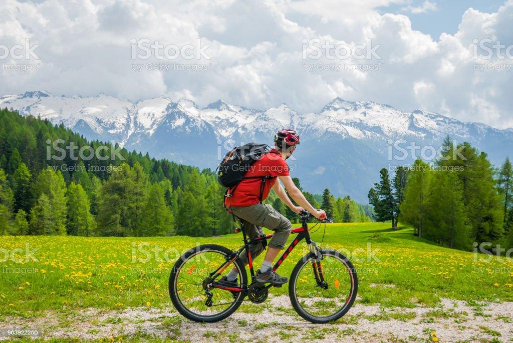 Slow life, MTB cyclist admires alpine mountain landscape