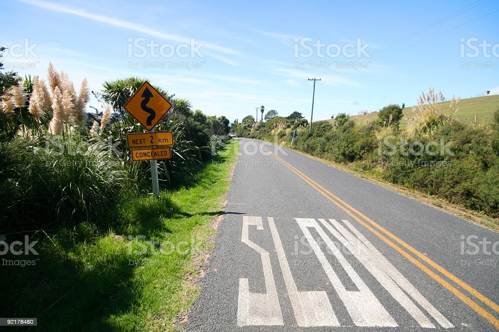 Slow marking on the road royalty-free stock photo