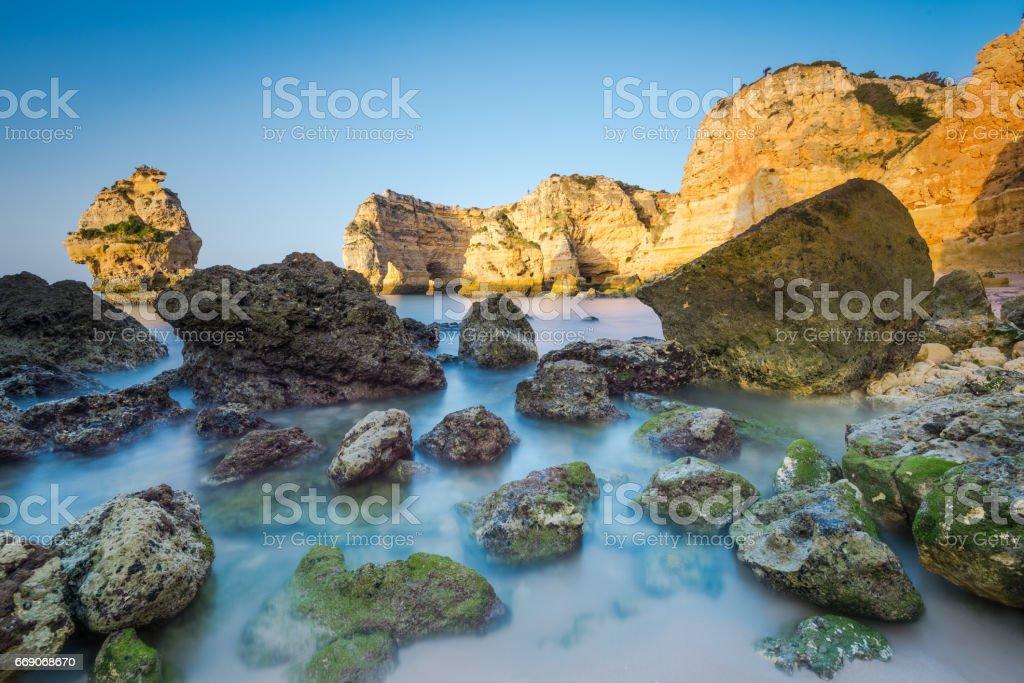 Slow motion blur Algarve coast and cliffs,Portugal stock photo